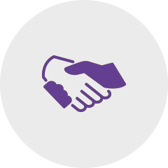 Icon handshake violet: Sagawe & Klages Rechtsanwälte advise companies on contracts and contract design.