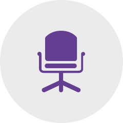 Icon desk chair violet: Sagawe & Klages Rechtsanwälte consulting for the management and managing directors.