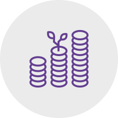 Icon coins violet: Sagawe & Klages Rechtsanwälte Advice for companies to invest capital.